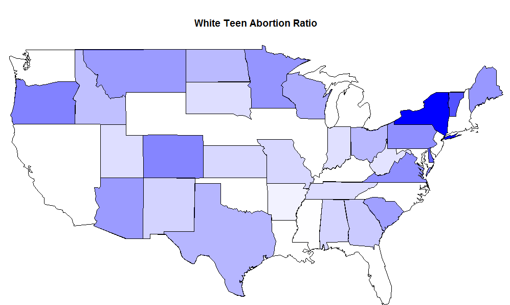 Abortion Rates By State Map.Gene Expression Maps Of White Teen Birthrate And Abortion Rates By